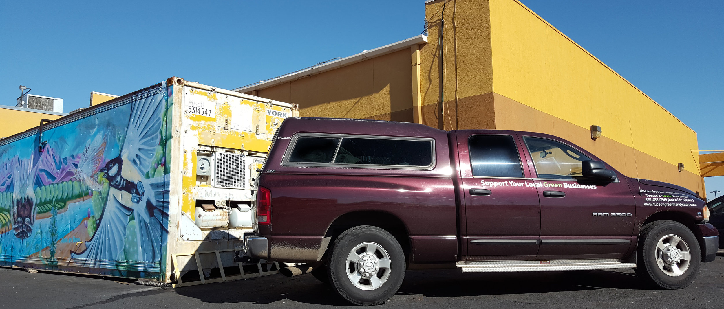 Our first haul of winter citrus grapefruits arriving at the Co+op in the Micander Enterprises work truck!