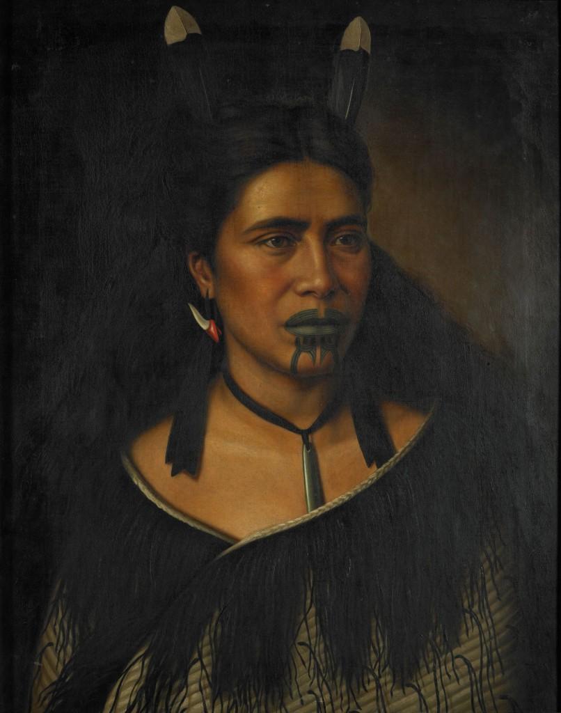 Maori wahine, Mihiterina Takamoana adorned with Huia feathers, revered by both Maori & Pakeha settlers   painting by Gottfired Lindauer (1839-1926)