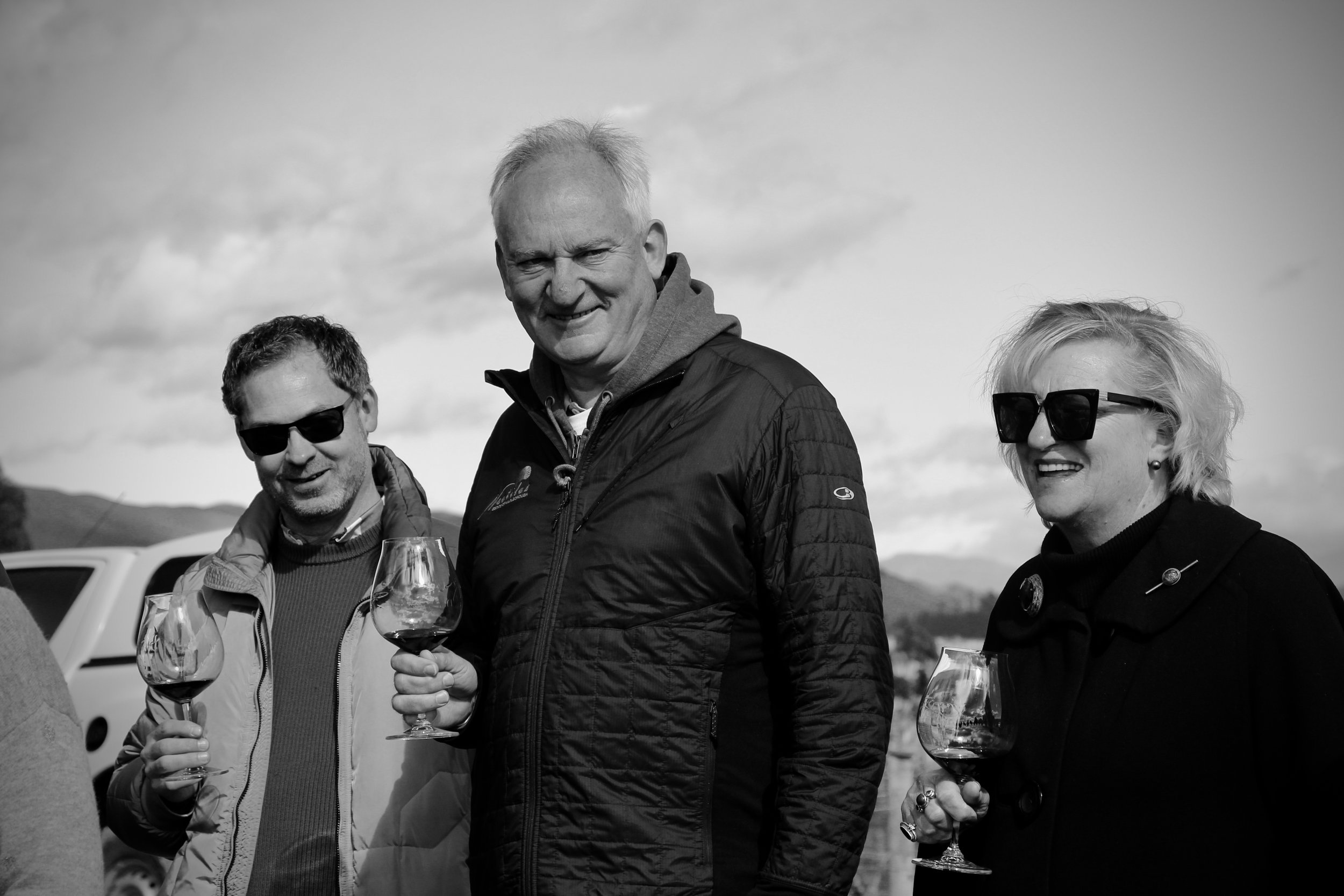 Parky, Cleevay & Miranda supping on Greywacke 2013