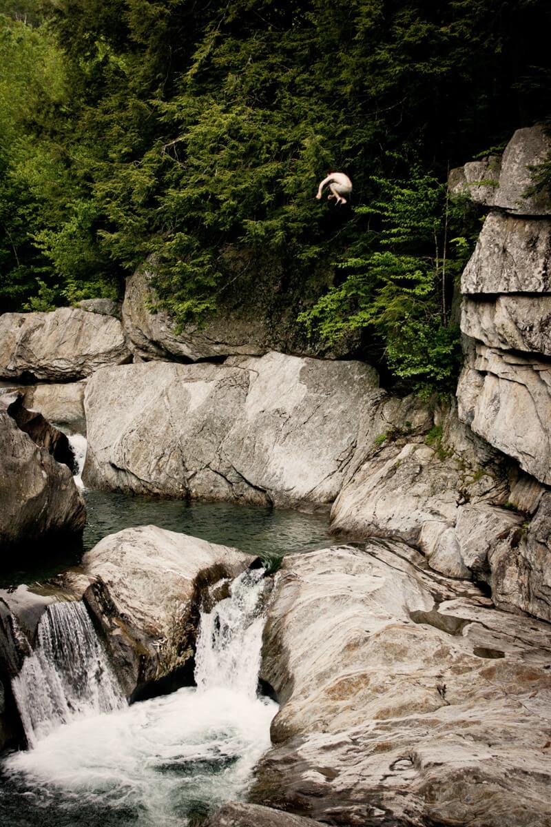 Cliff jumping at Warren Falls