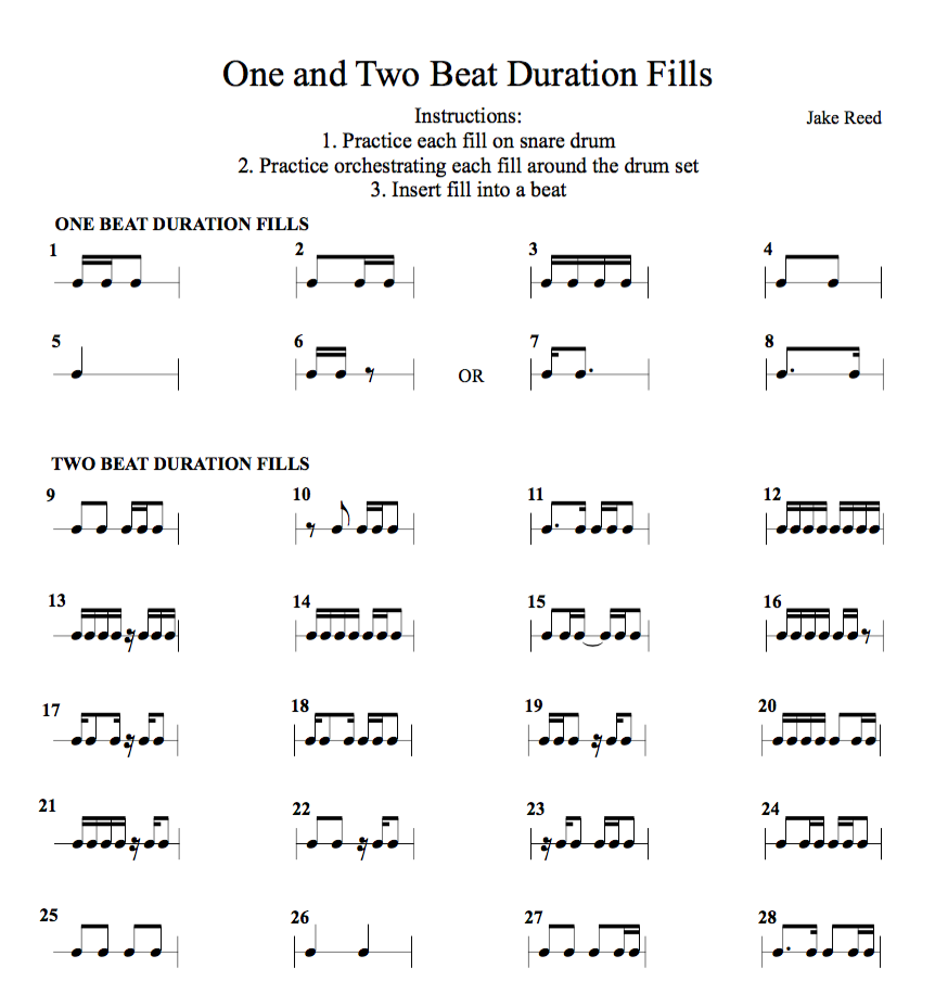 One and Two Beat Duration Fills