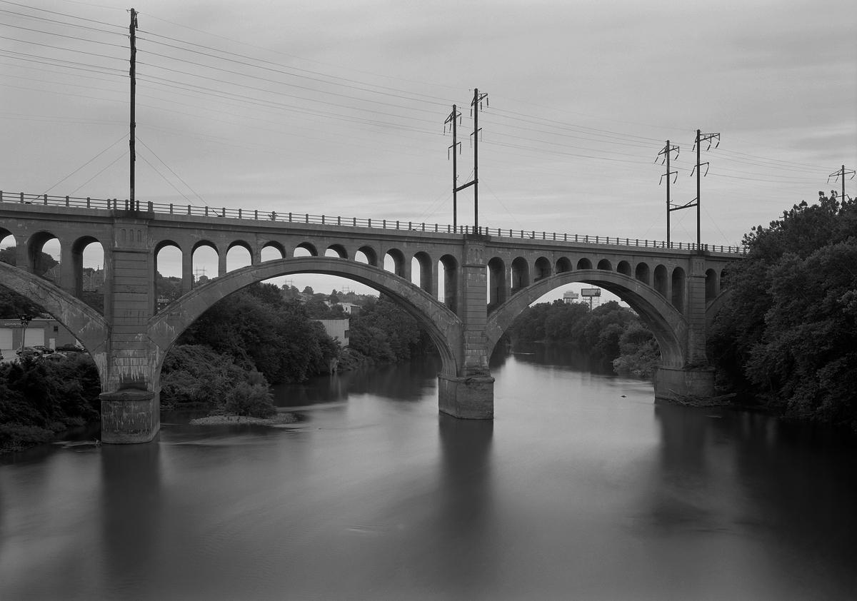 Former PRR Bridge from Green Lane Bridge on the Schuylkill River.