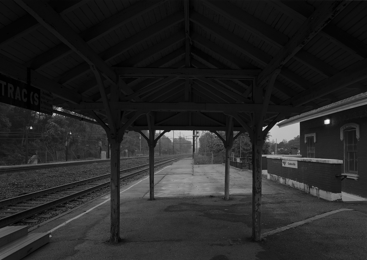View from the remaining canopy looking East toward Philadelphia at the Coatesville Train station, September 2010.
