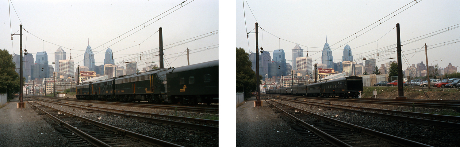 Having made its reverse move from the High Line onto Amtrak at Arsenal Interlocking, the consist runs its final few miles North into 30th Street Station, seen here coming and going near South Street.