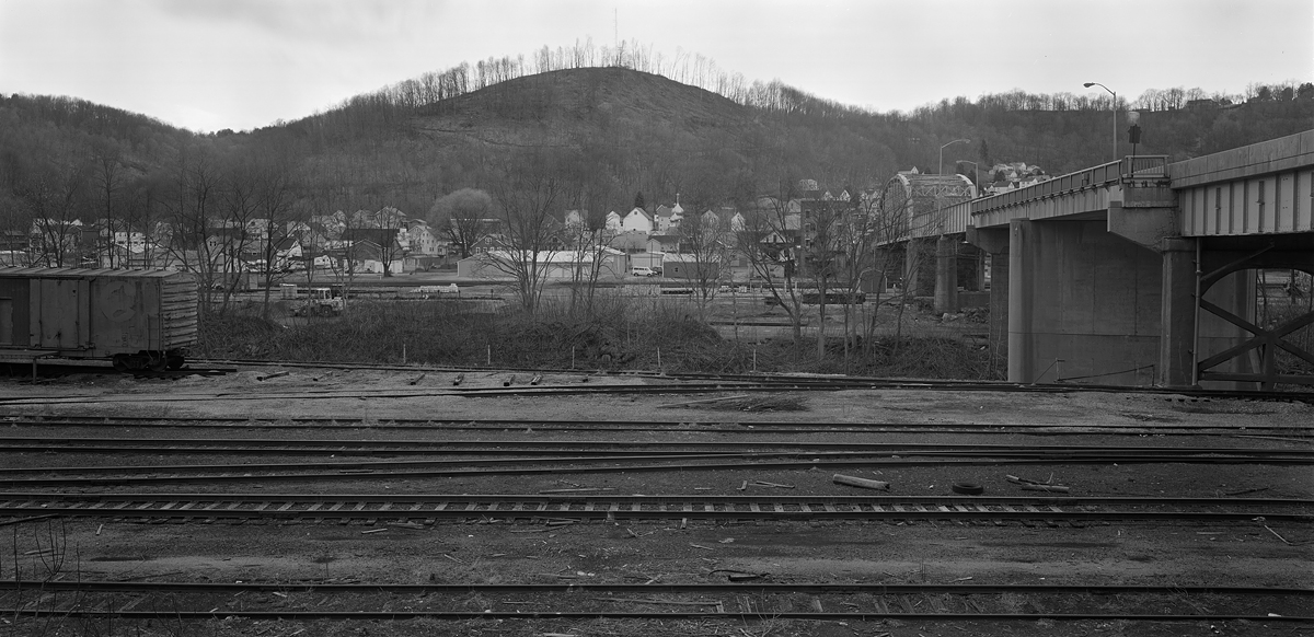 View looking toward East Conemaugh. Taken from the Town of Franklin, Conemaugh and Black Lick trackage is in the foreground, the River, and finally the PRR and East Conemaugh nestled along the distant ridge. The bridge to the right is the Strank Memorial Bridge which is soon to be replaced.