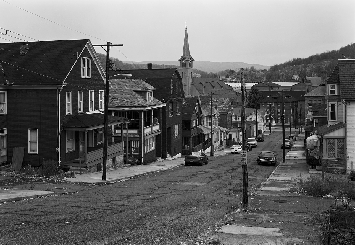 View from Singer Street looking Northwest. Note the Gautier Works behind the buildings on Railroad Street at the bottom of the hill.