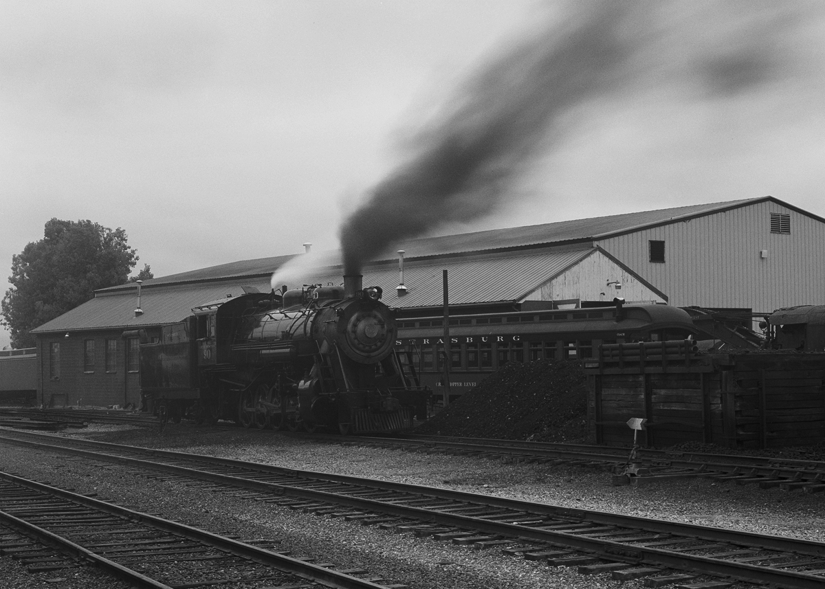 Former Great Western Light Decapod Class 2-10-0 #90 stands on the ready track early in the morning on a foggy August day in 2011.