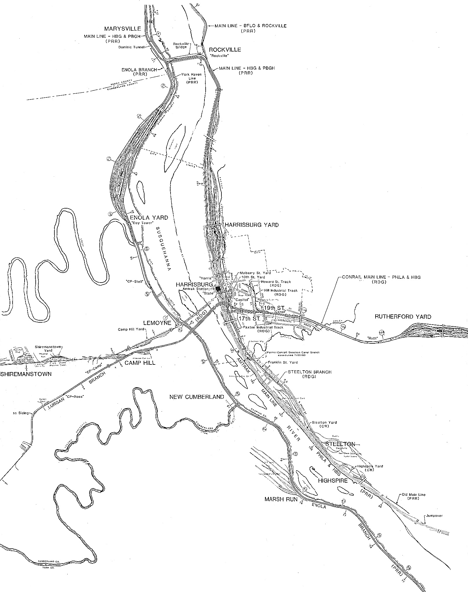 Conrail map of the Harrisburg Terminal Area circa 1984. In the map it becomes evident how the PRR dominated the area over the Reading Company, which is represented by the line starting at Rutherford Yard and heading straight across(left to right) to the Lurgan Sub. This line today is what funnels Norfolk Southern traffic from the East. Amtrak lines are represented in dotted lines moving from Harrisburg proper to the South East (bottom right). Note all predecessor line are noted in parentheses.