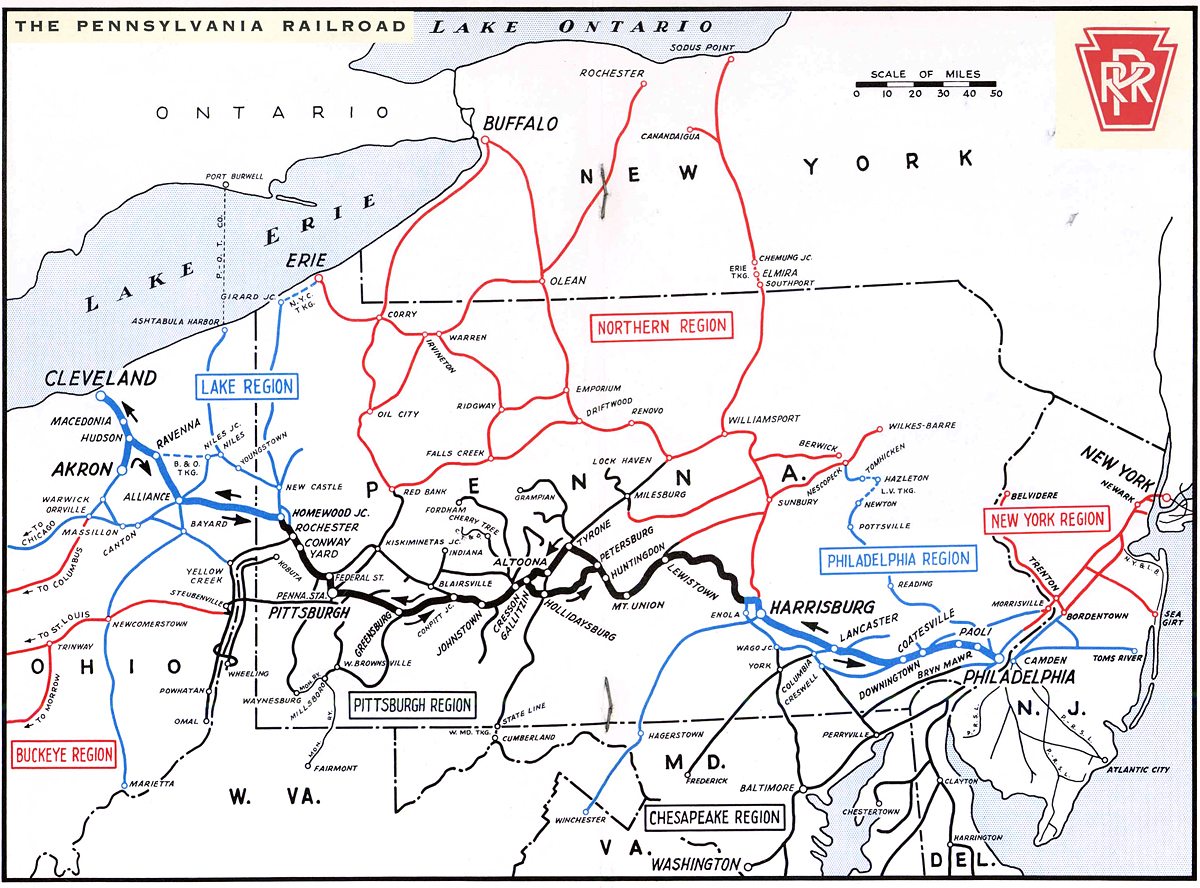 PRR system map circa 1957, illustrating the importance of Harrisburg among the connection of various Divisions.