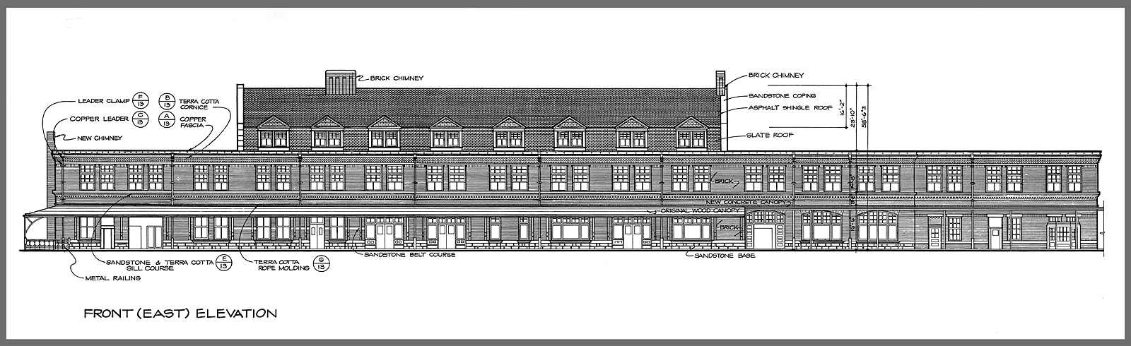 Front elevation drawing of the Harrisburg Train Station.   (below) Detail drawings of the fireplace and floor tile work. Drawings collection of the Historic American Engineering Record, National Park Service drawn by Harry Weese & Associates  .