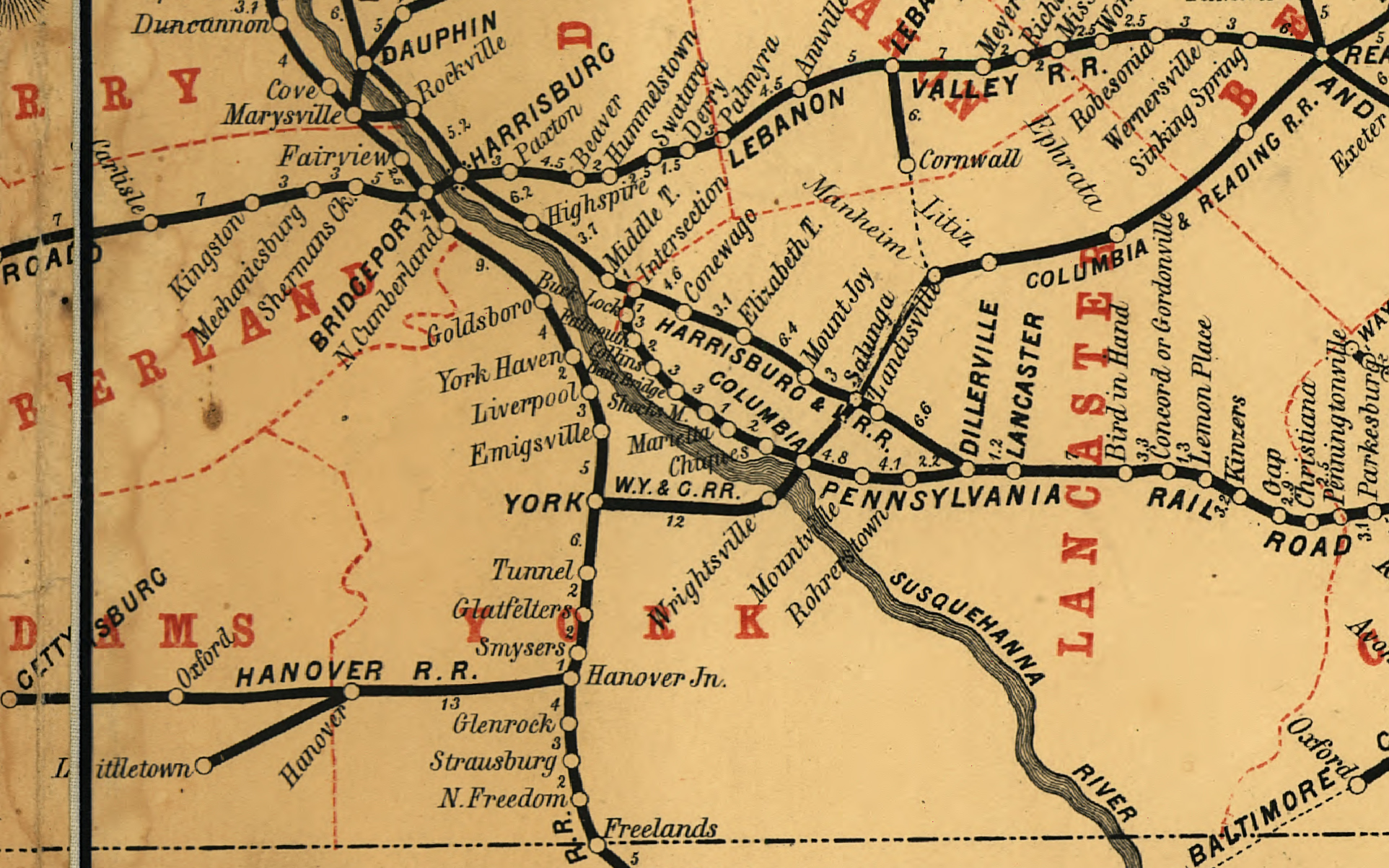 Detail of an 1863 system map shows the integration of the lines purchased under J. Edgar Thompson including the Northern Central which comes from the bottom center heading directly toward Hanover Junction. (Rutgers University Collection)