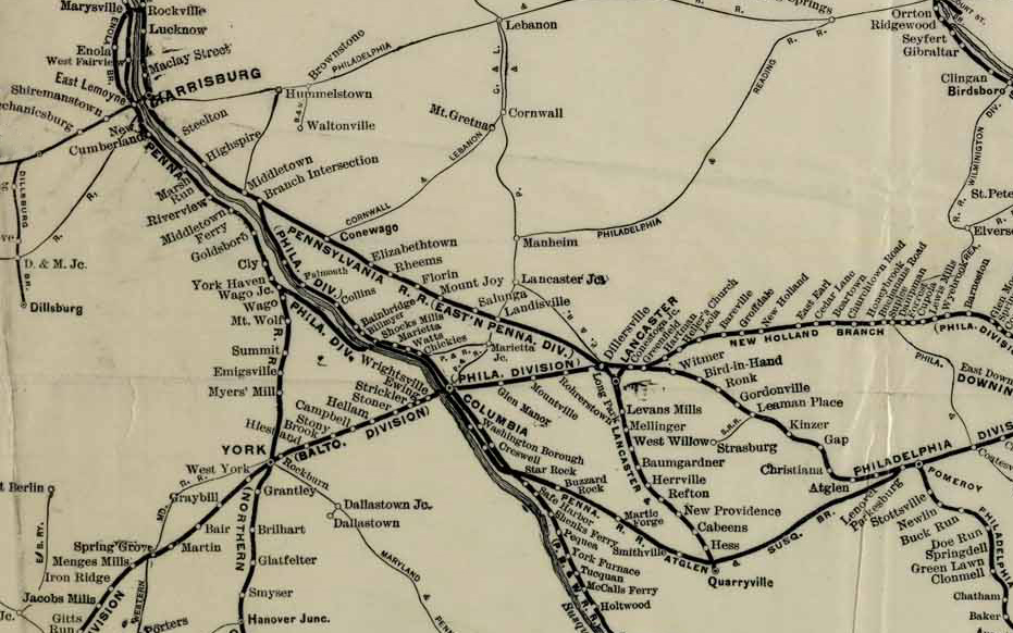 Detail of a 1911 system map showing the completion of Cassatt's low-grade network by way of the Atglen & Susquehanna Branch (lower center to lower right) between Cresswell and Parkesburg, Pennsylvania. (Rutgers University Collection)