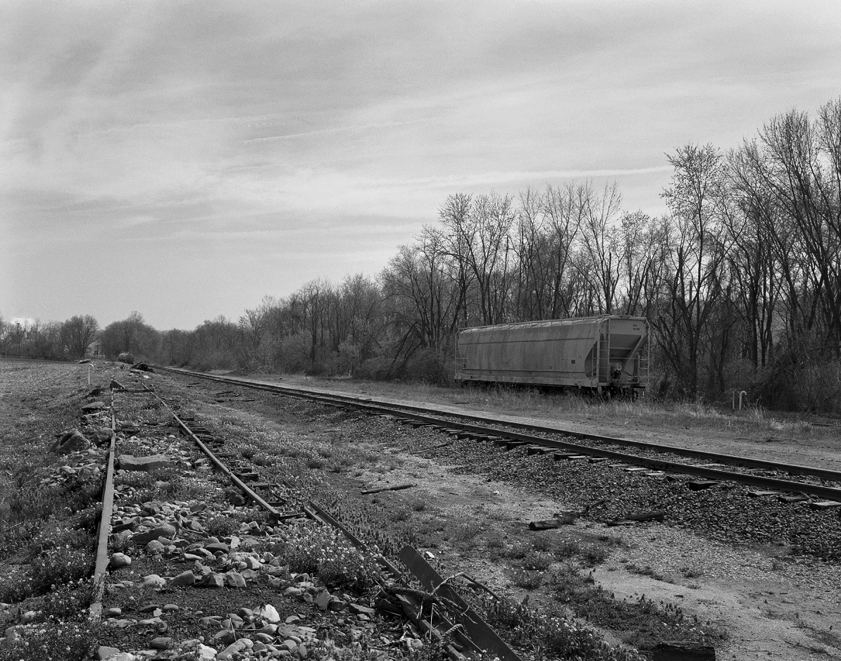 Remaining trackage from the old Harrisburg, Portsmouth, Mount Joy and Lancaster Railroad's Royalton - Columbia Branch, now an industrial track retained to serve a few local customers. The active 1902 York Haven line alignment is out of view to the to right on an elevated fill to accommodate trains off the Shocks Mill Bridge  .
