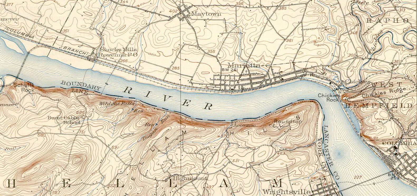 A 1906 USGS topographical map illustrating the former alignments of the PRR, note the newer York Haven line stays close the shore on the Eastern (top) bank of the Susquehanna all the way from Shocks Mills (left) to Columbia (right). This included the fill across a river bend just beneath Hempfield which became known as Kerbaugh Lake. Also noteworthy is the trackage snaking up the inland side of Chickies Ridge, this was the Columbia & Donnegal Electric Railway, a trolley line which operated an amusement park at Chickies Rock.