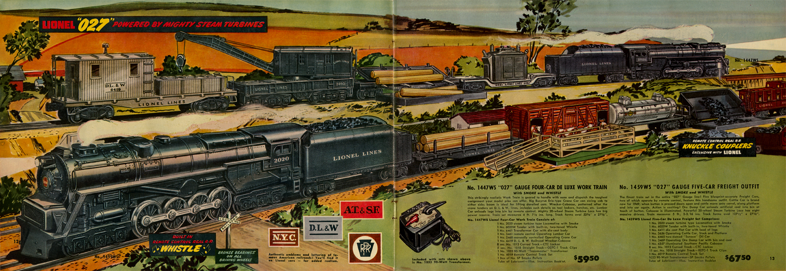 Page 12-13 of Lionel's 1947 product catalog illustrating the deluxe train sets # 1447WS and 1459WS featuring accessories including the log dump car and working cattle pen. Note the locomotive which is modeled after the PRR's failed S2 steam turbine locomotive, which ironically Lionel produced more of than the Juniata Shops!  Original 1947 catalog collection of the author.