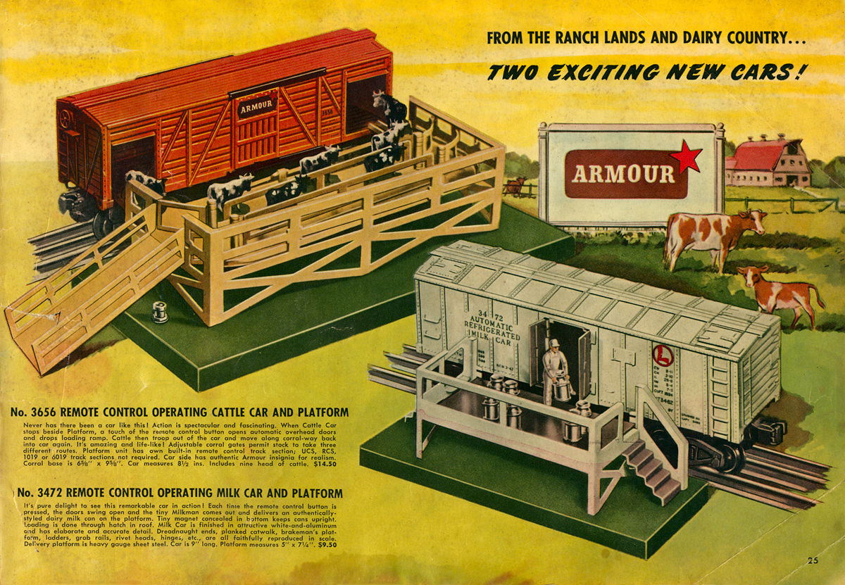 """From the Ranch Lands and Dairy Country!"" Lionel was well known for there operating accessories including the Cattle Car and Milk cars both which were accompanied by trackside platforms for loading and unloading. Original 1947 catalog collection of the author."