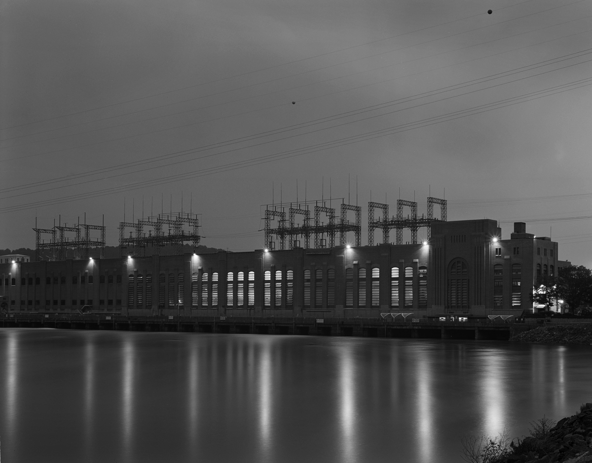 Modern view of the Safe harbor Hydro-electric power plant during an approaching storm.