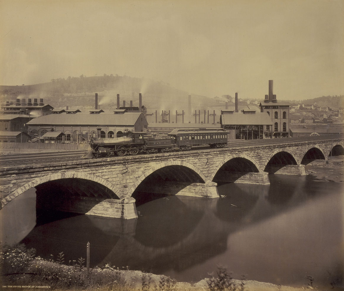Plate 199. Stone Bridge at Johnstown by William H Rau. Collection of American Premier Underwriters