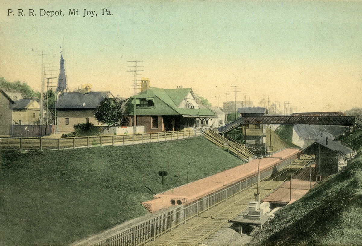 Turn of the century view of the third and final Mount Joy station after the PRR relocated the main line during the system improvements program of the 1890's. Inset image of the 1876 station constructed by the PRR  on the original Harrisburg, Portsmouth, Mount Joy & Lancaster Railroad alignment at Market Street. Inset image collection of the Lancaster Historical Society.