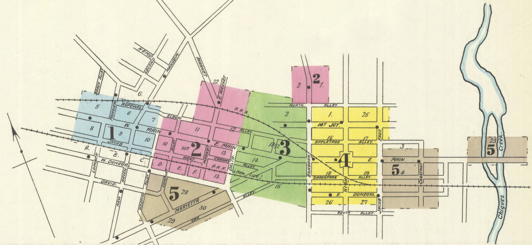 1896 Sanborn Fire Insurance Map shows completion of the new line with the old alignment yet to be abandoned.  Map collection of the Penn State University Library.