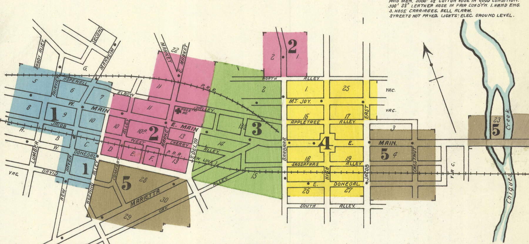 1902 Sanborn Fire Insurance Map showing the final arrangement including the removal of the H&L alignment east of Barbara Street, the same basic trackage arrangement that survives today. Map collection of the Penn State University Library.