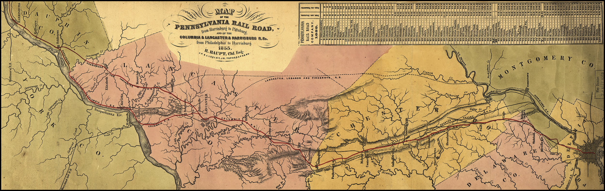 Detail of an 1855 map illustrating the Pennsylvania Railroad system and its connections. This map shows the proposed Lebanon, Lancaster & Pinegrove Railroad which was to bypass the Philadelphia & Columbia to gain access to Philadelphia prior to the Commonwealth and the PRR coming to an agreement on the sale price of the failing Main Line of Public Works in 1857. Map collection of the Library of Congress.