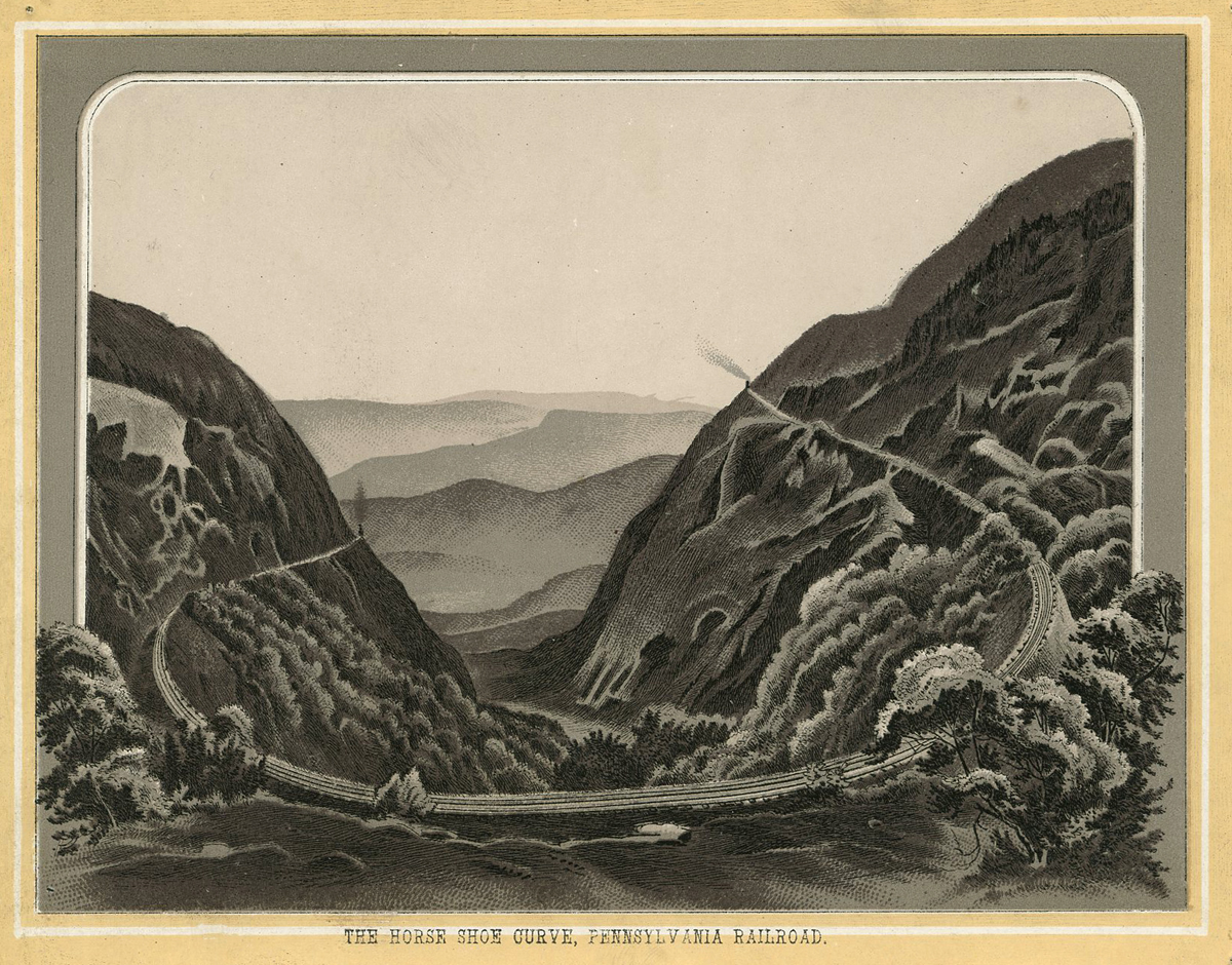 """The Horse Shoe Curve, Pennsylvania Railroad"" Illustration of the engineering landmark envisioned by  J. Edgar Thomson from an 1895 travel book which illustrates the scenic highlights of the Pennsylvania Railroad Main Line. Collection of the author."
