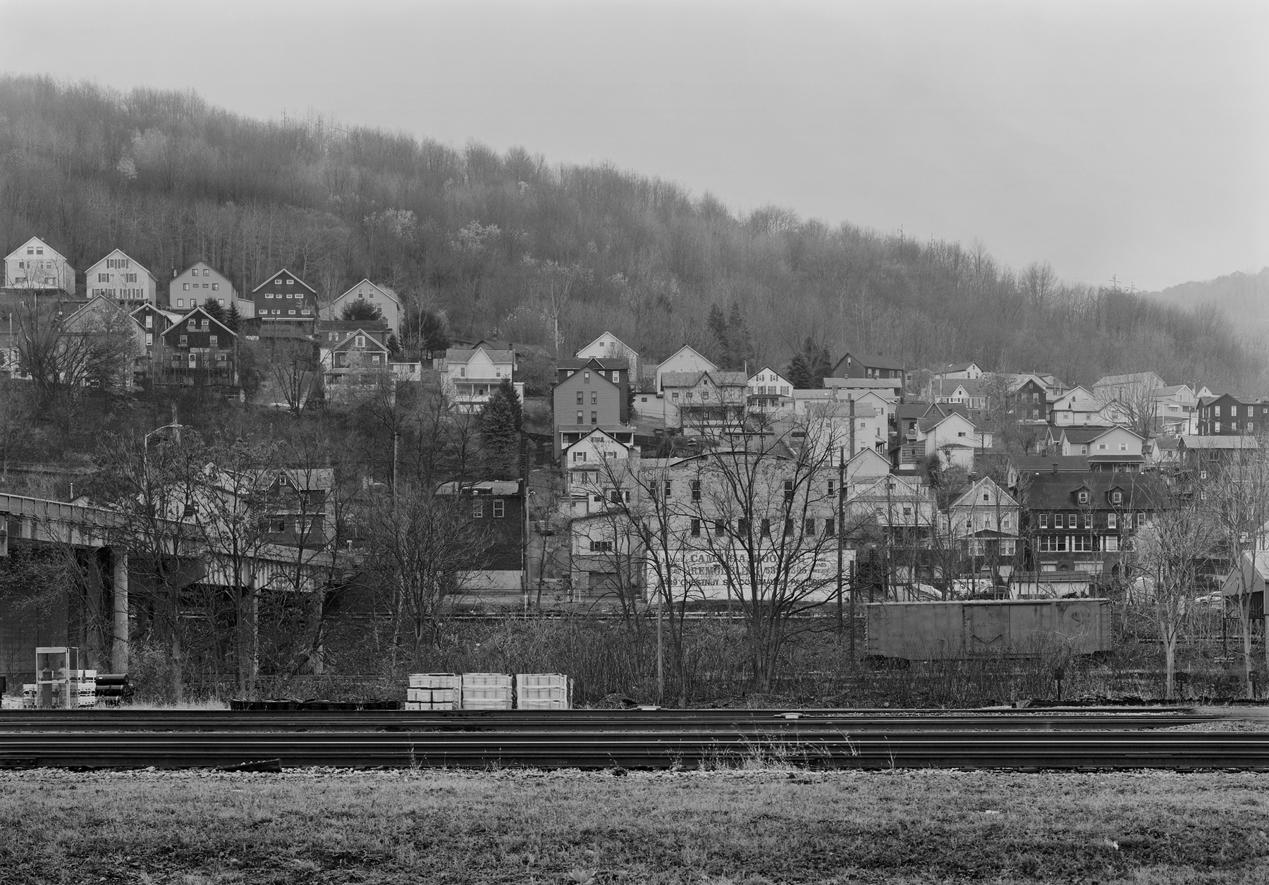 View of the former Pennsylvania Railroad Main Line and East Franklin from Conemaugh, Pennsylvania.