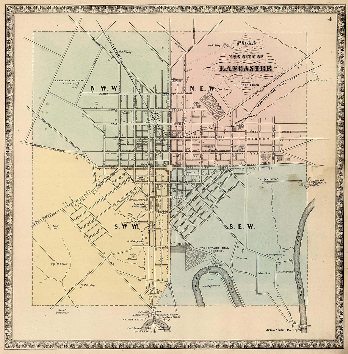 City of Lancaster, circa 1864.David Rumsey Map Collection.