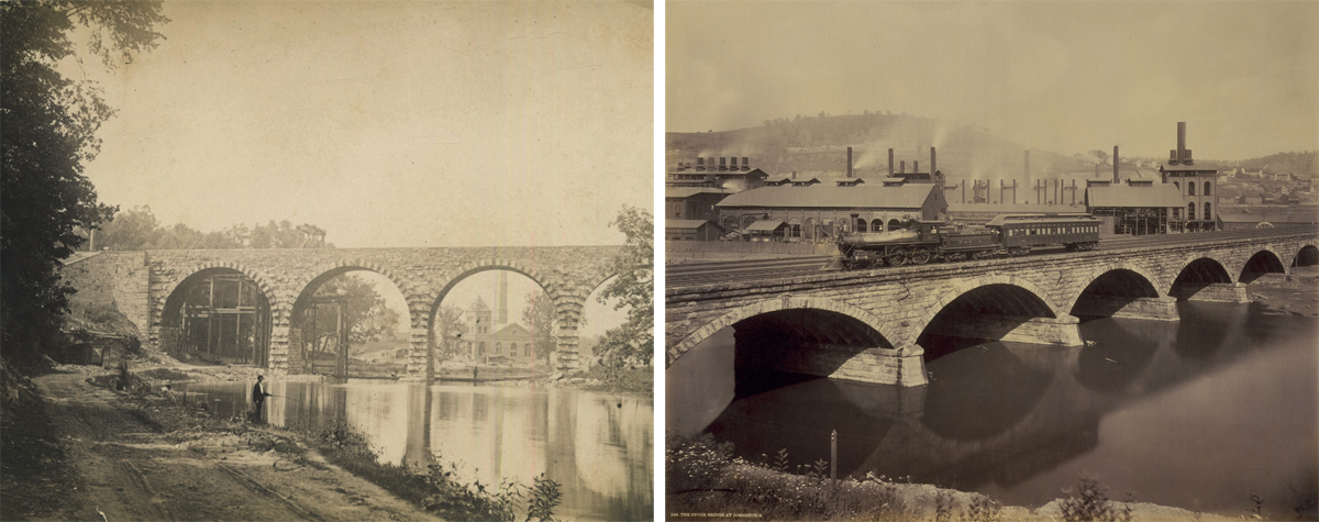 The connection between Brown's first two stone bridges are linked to various correspondence in the planning stages for both locations. Born from the endorsement of stone bridges during the four track expansion, they diverged at the time of design. The Conestoga is two tracks with provisions for expansion (note protruding stone work along the arches) the Conemaugh bridge designed and built with four tracks. Both survive today and remain in active service on Amtrak's Keystone corridor and Norfolk Southern's Pittsburgh line respectively. Left detail; Photographer unknown, image courtesy of LancasterHistory.org, Lancaster, Pennsylvania. Right detail William H. Rau, collection of American Premier Underwriters, Inc.