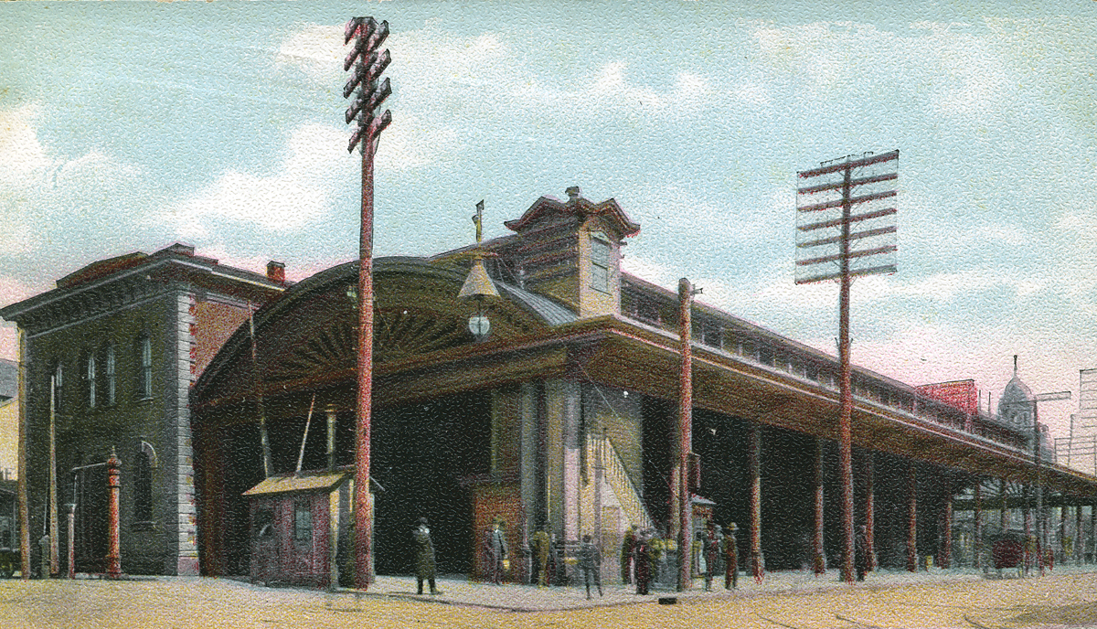 Postcard view of the ornate Victorian styled PRR station located at N. Queen and E. Chestnut Streets in the city of Lancaster. Collection of the author.