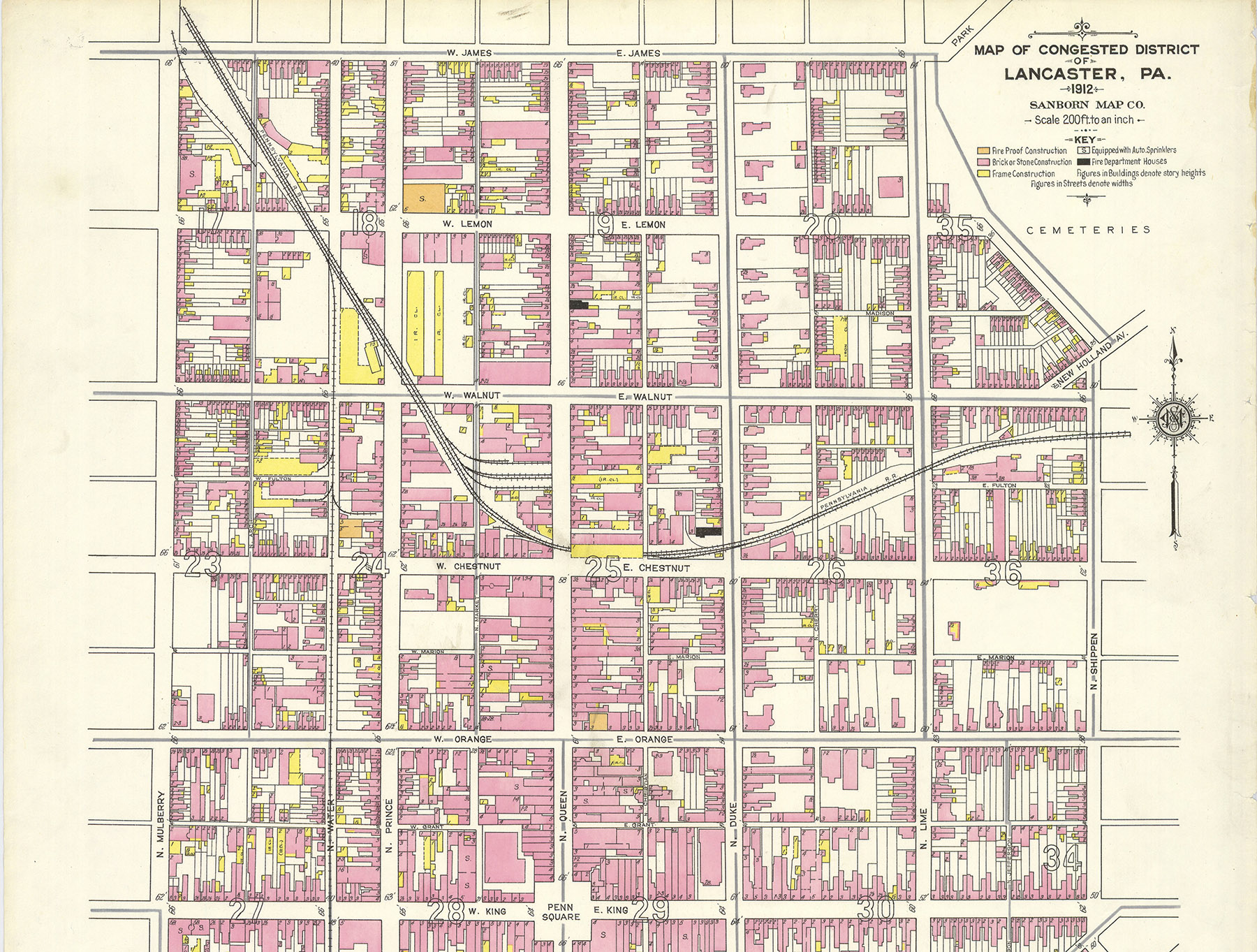 1912 map detail showing the congested area surrounding the original alignment of the Philadelphia and Columbia route which became the PRR's original main line through Lancaster. The station was located at Queen and Chestnut Streets (location 25 on the map) and the freight terminal was on the corner of Prince and Walnut Streets (upper left from station). Map collection of the Penn State University Library