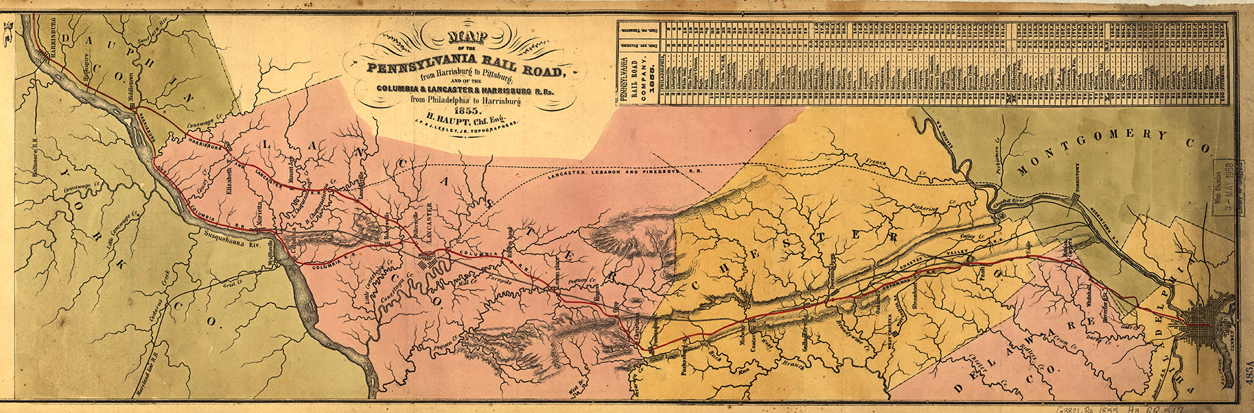 Detail of the 1855 map under Chief Engineer H. P Haupt shows the proposed Lebanon, Lancaster & Pine Grove Railroad (across the upper center area of the map)which would eliminate the need to purchase the State's failing Main Line of Public Works. Though the route was never built the similarities of the line with Downingtown & Lancaster branch makes one wonder if the property had once been considered to be part of the plan had the Commonwealth and the PRR never came to terms. Map collection of the Library of Congress