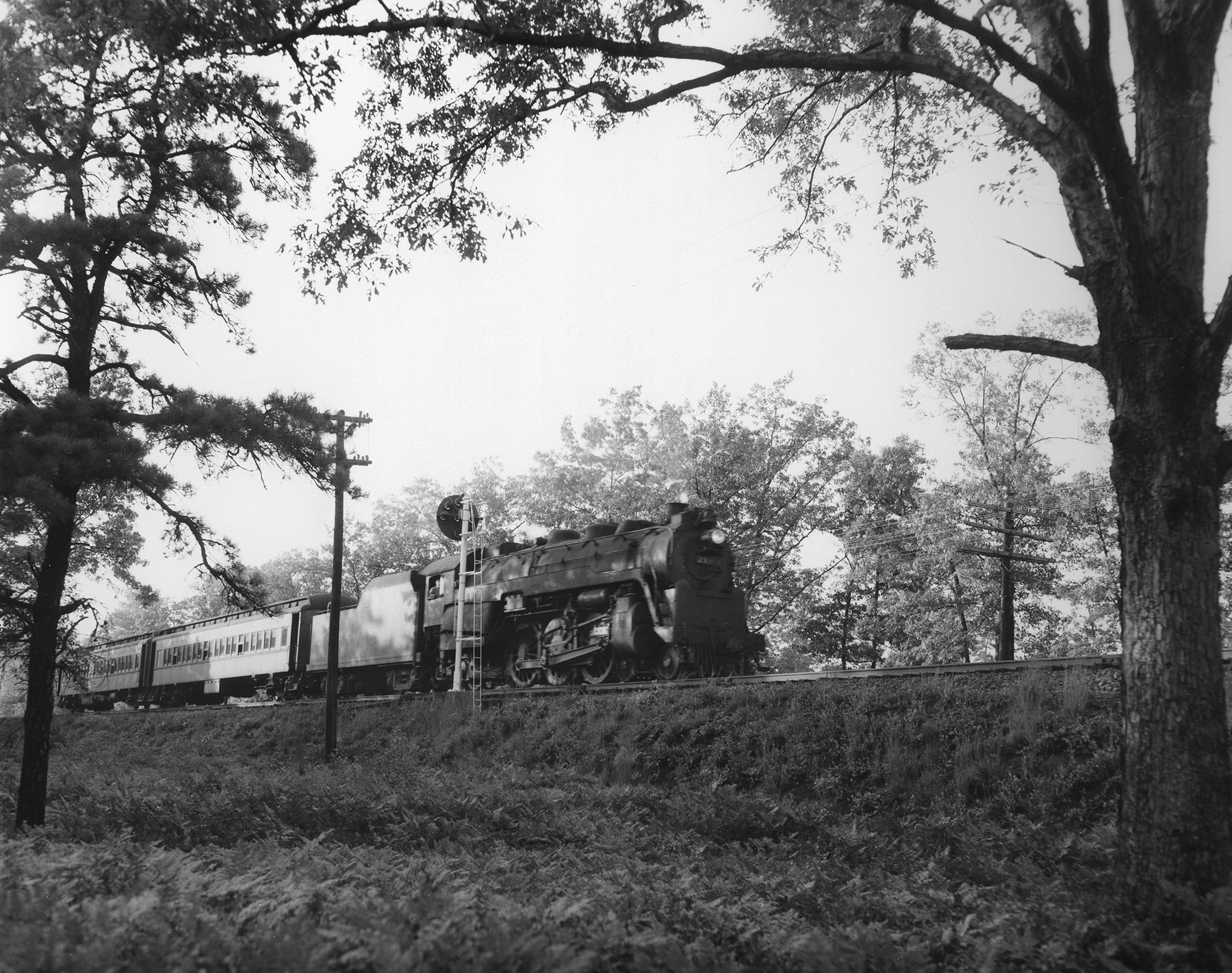 A PRSL local train powered by a Reading G class pacific locomotive heads south through Lucaston, New Jersey in the afternoon of September 3rd,1954. Like the PRR the Reading provided motive power much of which consisted of various G class Pacificsthat were built in the company shops in Reading, Pennsylvania.Photography by Robert L. Long, Collection of William Gindhart