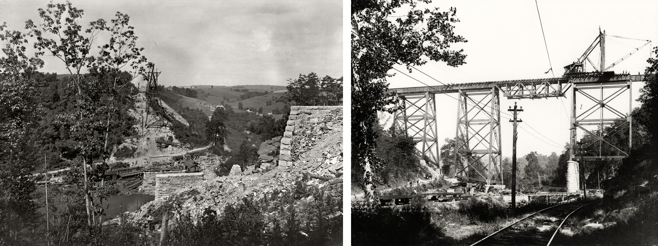 Construction of the Martic Forge Bridge was completed in 1905. These remarkable photographs illustrate the challenge the PRR had constructing this bridge in the remote Pequea Valley. (L) Image collection of The Kline Collection, Railroad Museum of Pennsylvania, PHMC (R) Columbia Historic Preservation Society, Columbia, PA