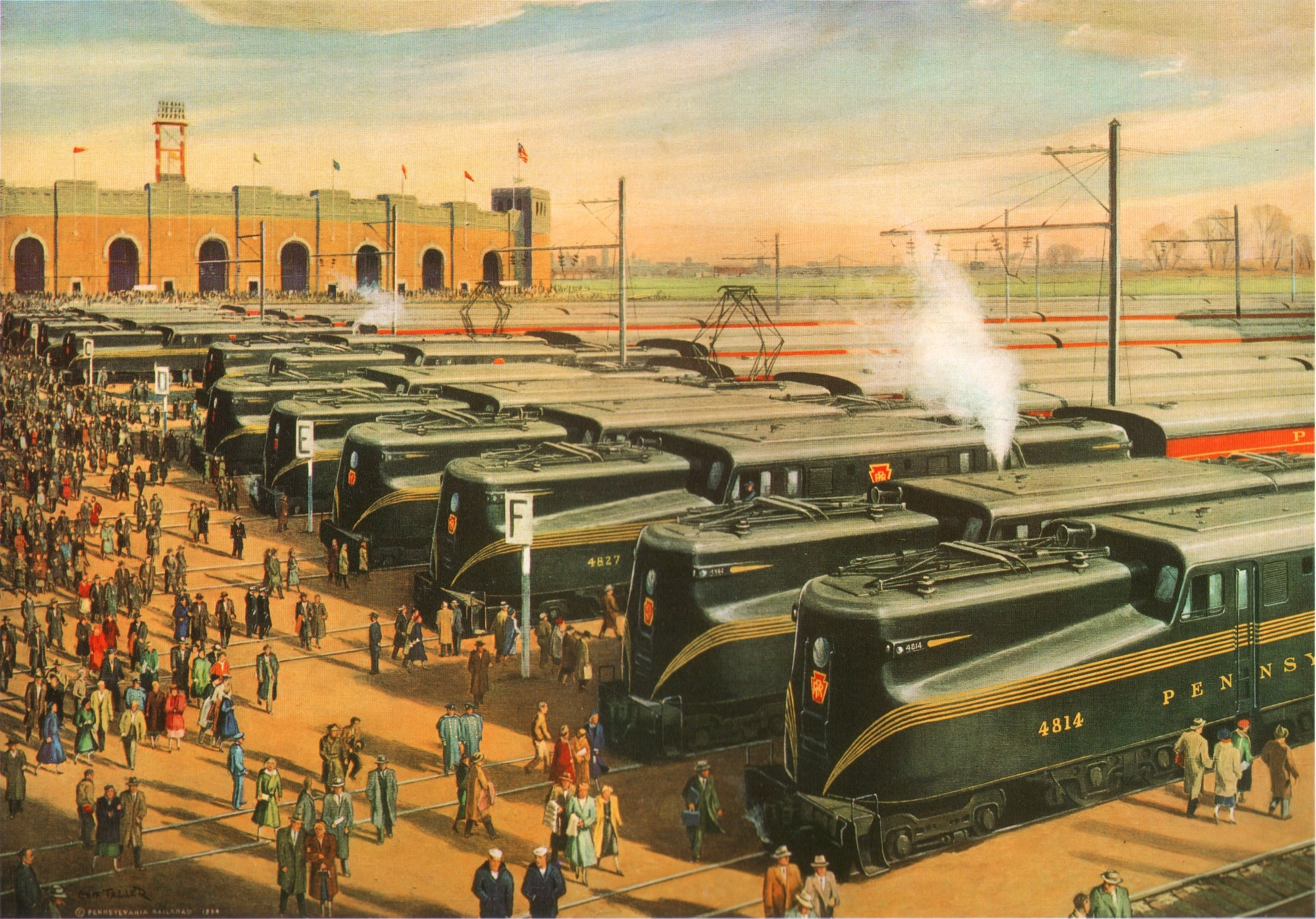 "Grif Teller's ""Mass Transportation"" circa 1955 depicts the Army Navy game trains cued up in preparation for the flood of spectators returning from the annual Army Navy Classic. The image illustrates the massive commitment the PRR made to provide game day service ranging from the allocation of equipment to the conversion of a major freight terminal into a temporary passenger station all for a one a day event!"