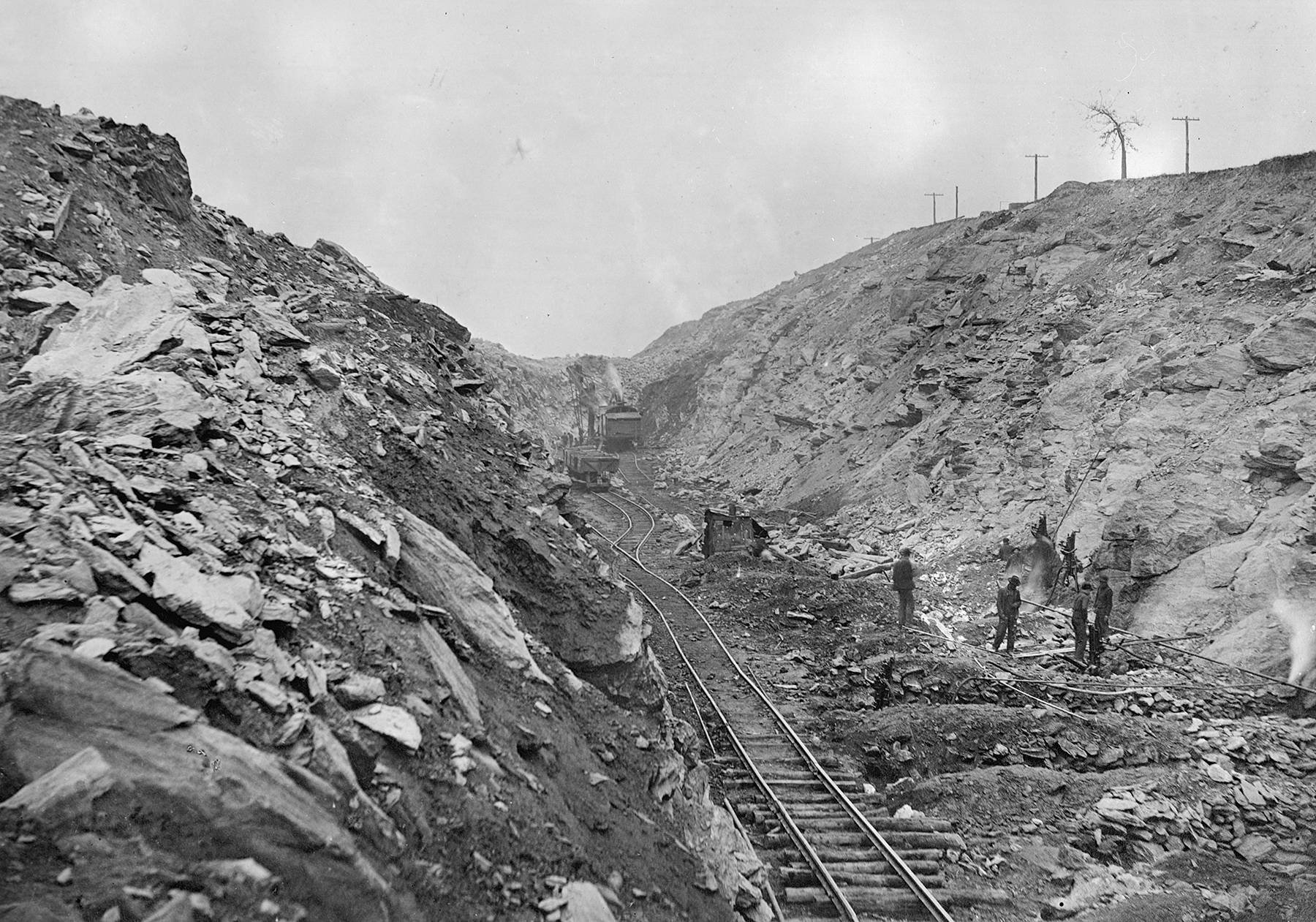 One of the deep cuts near Quarryville takes shape as crews blast and dig their way through solid rock to maintain the 1% maximum ruling grade on the A&S branch. Kline Collection, Railroad Museum of Pennsylvania, PMHC