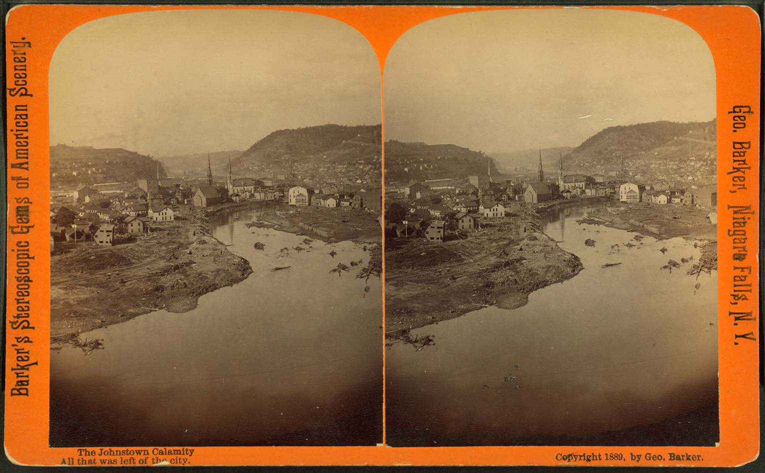 """The Johnstown Calamity"" by George Baker depicts the devastation of the great flood, note homes tossed on their side as the waters recede leaving nothing but mud in an area that was once a residential neighborhood. Image collection of the New York Public Library."