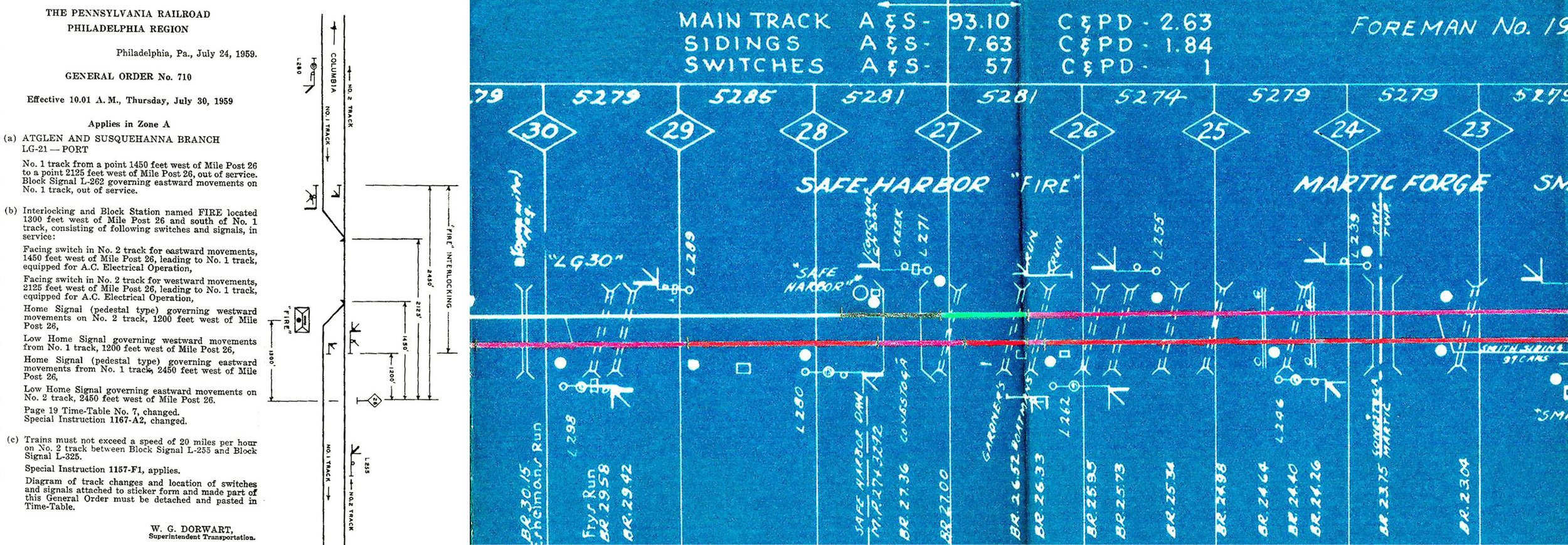 Annotated track chart and General Order No. 710 effective July 30th, 1959 outlining the implementation of temporary block station Fire, Documents from the late H. Wayne Frey courtesy of Abram Burnett.
