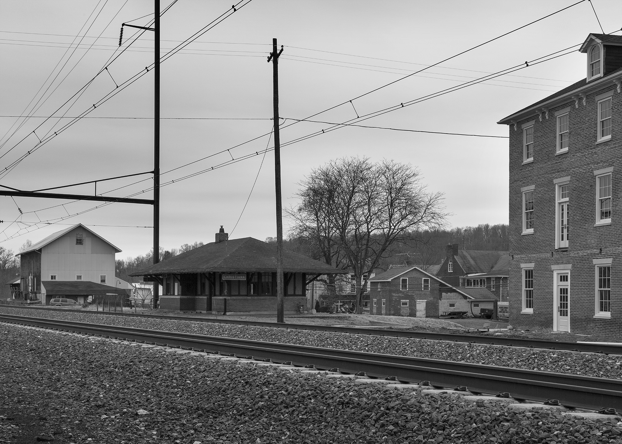 A modern-day view of the 1912 era Christiana train station. While manufacturing has left communities like this, the historical character and old buildings speak to the Borough's importance in industrial history throughout the United States in the 19th Century .