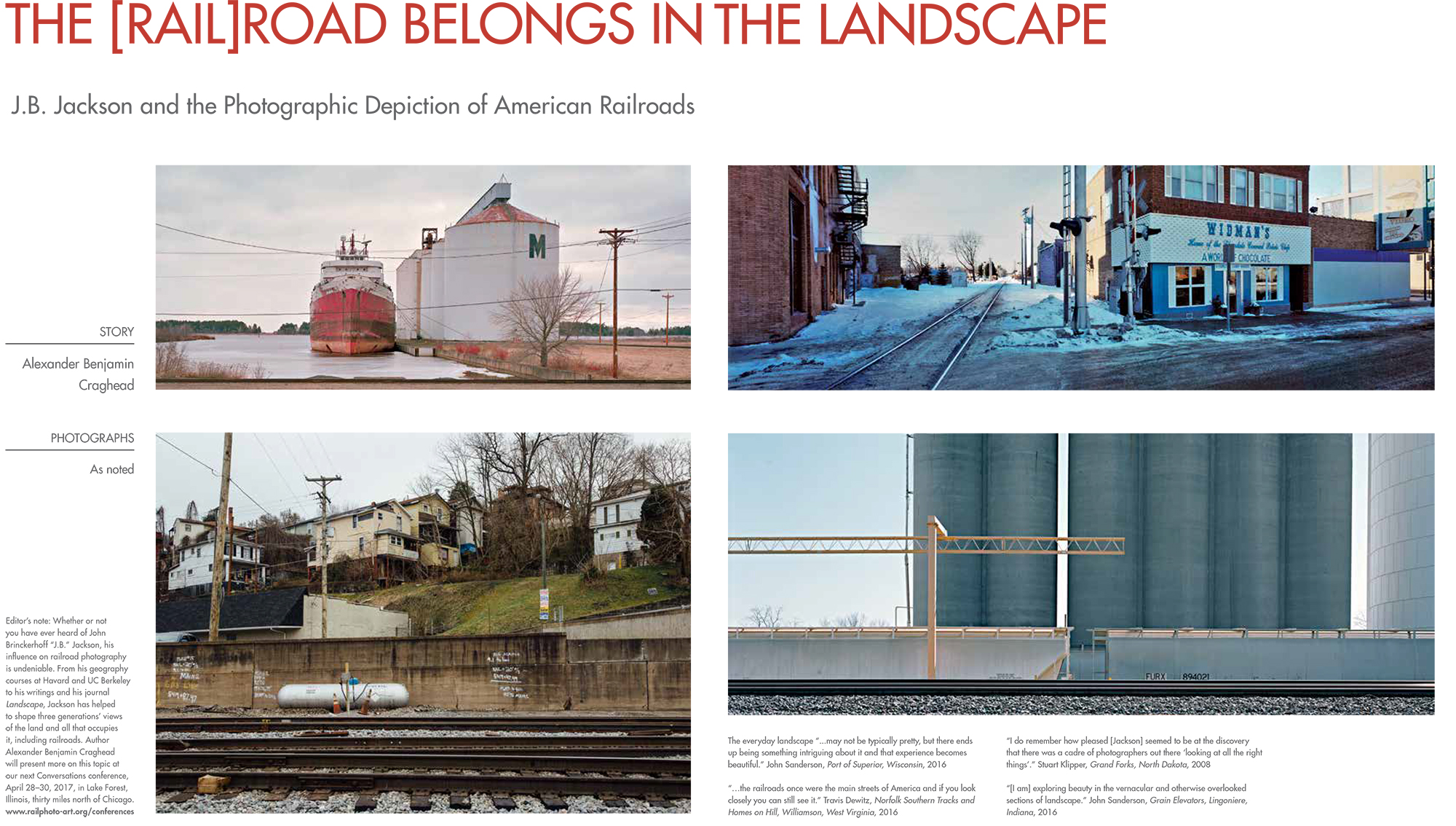 Some new work for the Mainline Project was recently included in Alexander Benjamin Craghead's article for Railroad Heritage, the quarterly journal of the Center for Railroad Photography & Art. Image credits, clockwise from the top left; John Sanderson, Stuart Klipper, John Sanderson and Travis Dewitz.  Reproduction courtesy of the Center for Railroad Photography & Art.