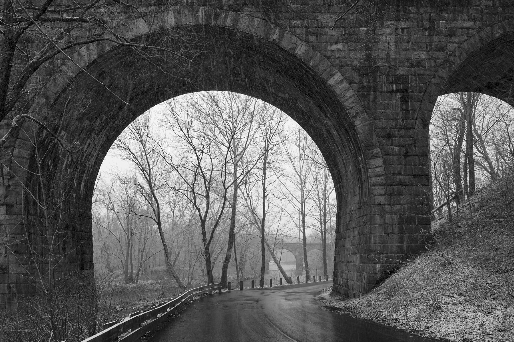 Stone bridges crossing the Neshaminy Creek, Pennsylvania Railroad Trenton Cut-Off, part of the Low Grade Freight Line between Morrisville and Enola, Pennsylvania. Join me March 14th to learn how historical imagery inspires new works in my ongoing project documenting the former Pennsylvania Railroad and the landscape it travels.
