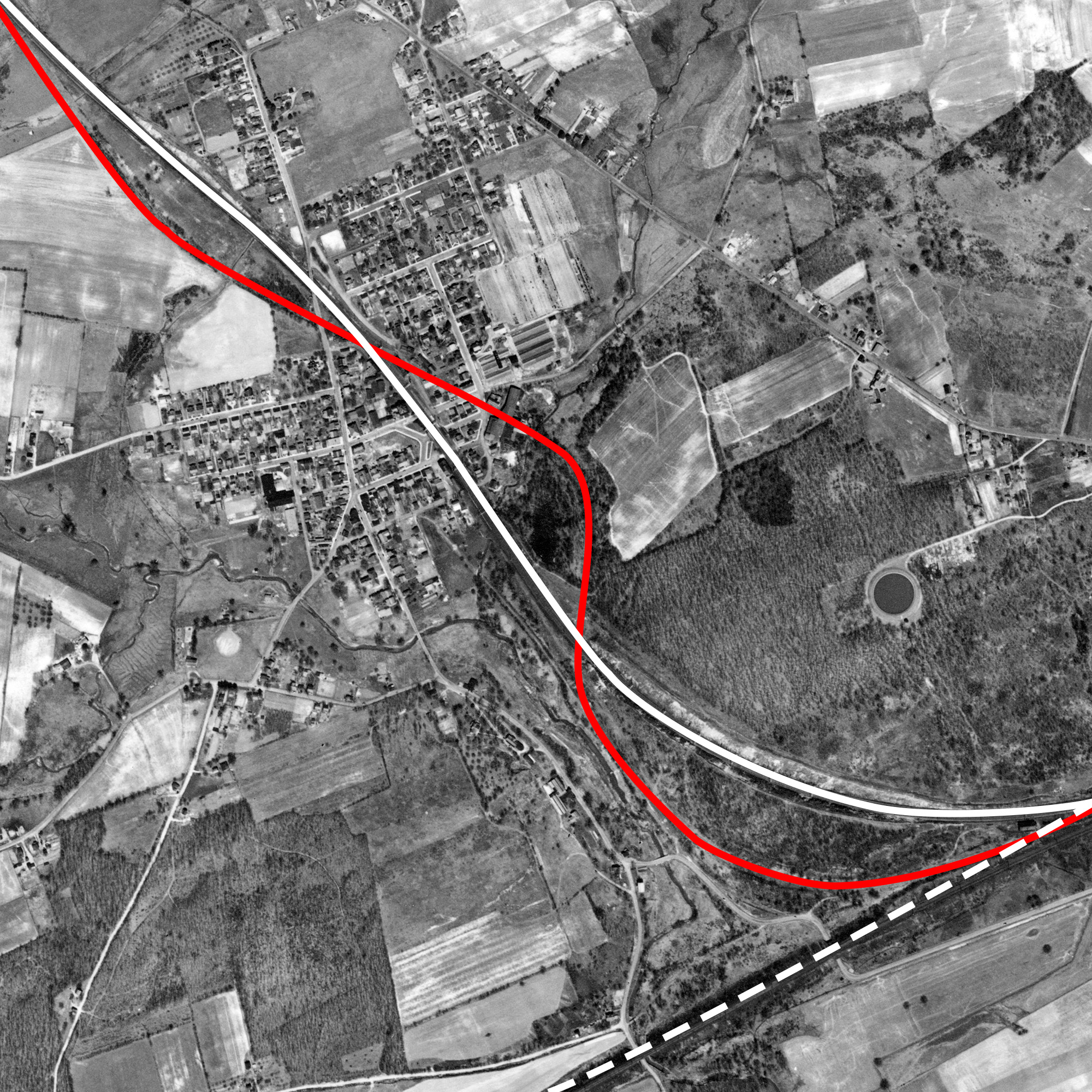 Annotated map of the Borough of Christiana illustrating the original P&C alignment (red) and the relocated mainline (white), part of the PRR's line improvements completed in 1895. Note the Atglen & Susquehanna Branch in the bottom left, which would not be completed until 1906, joins the right of way to the east of here.