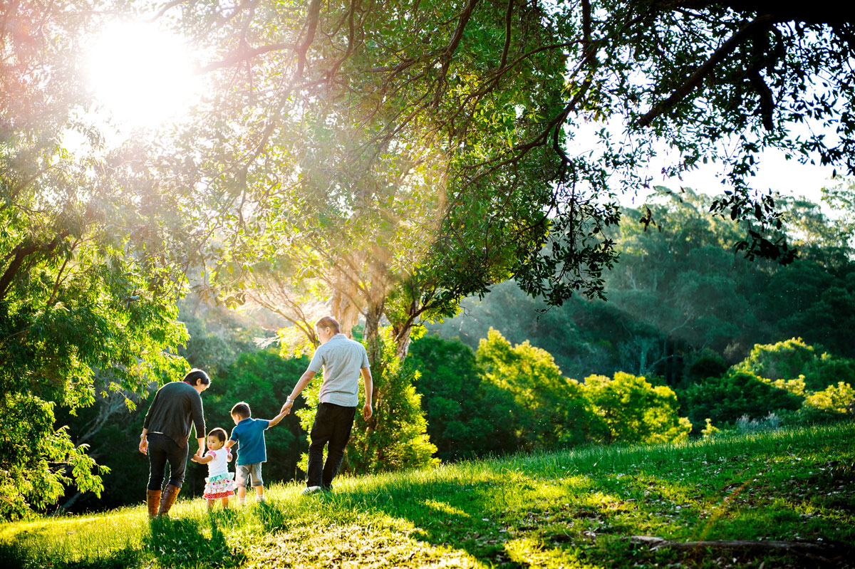 Sunlit family photograph