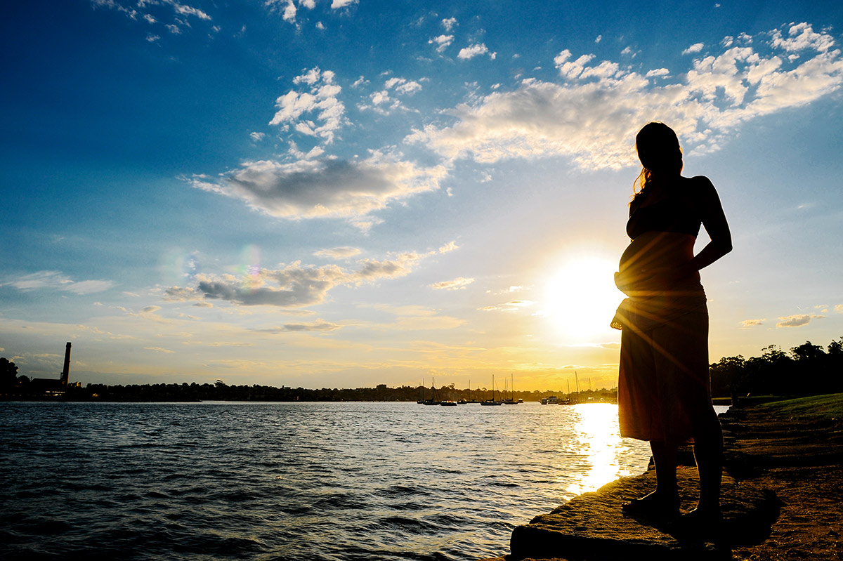 Silhouette of pregnant woman at Woolwich in Sydney