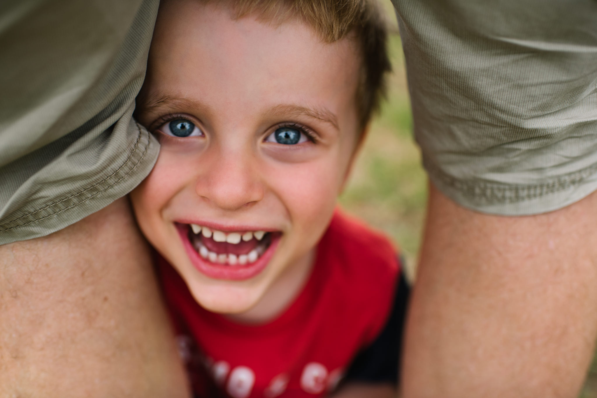 Smiling boy family photography