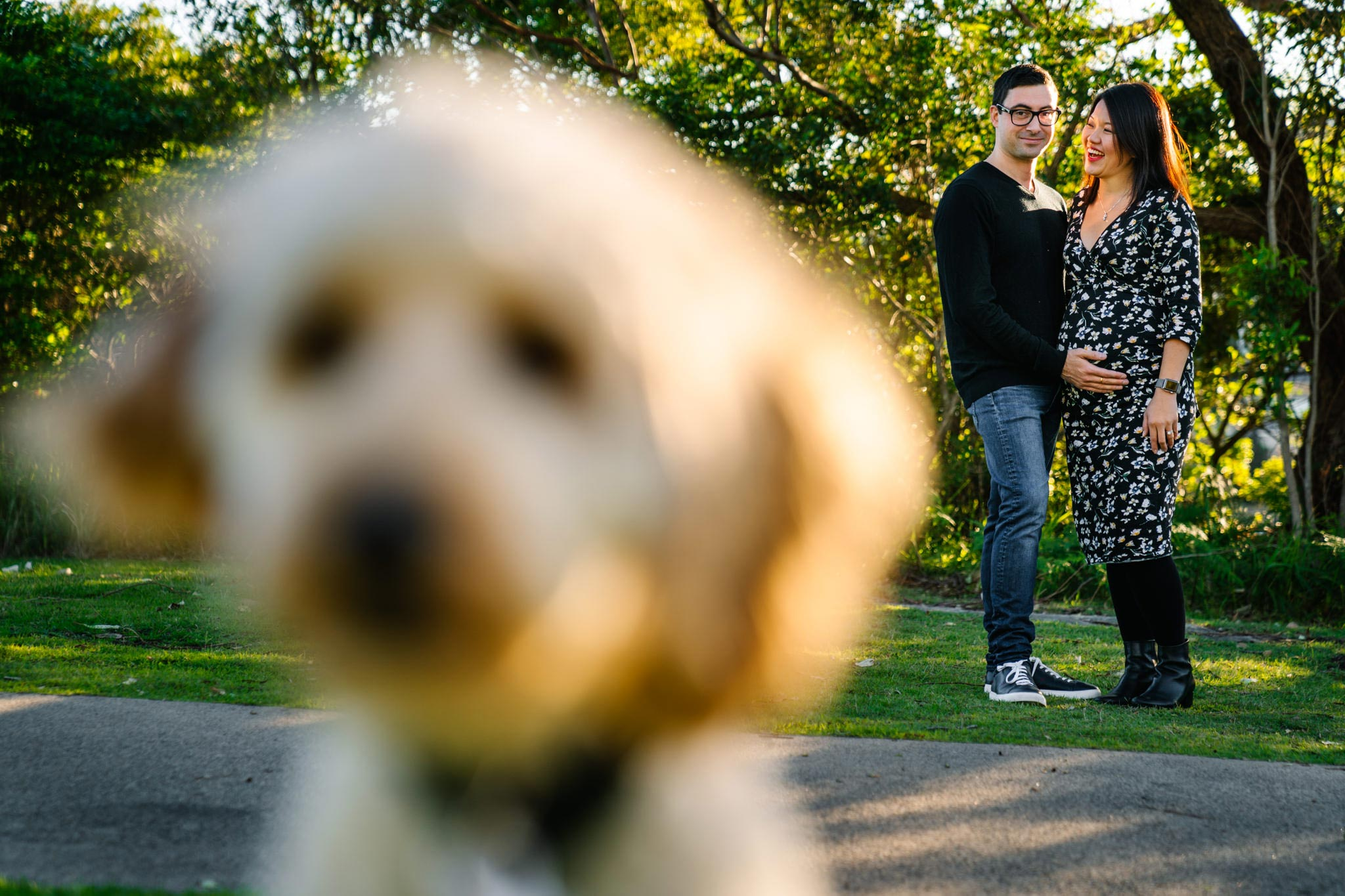 Couple with their dog at Northern Beaches maternity session