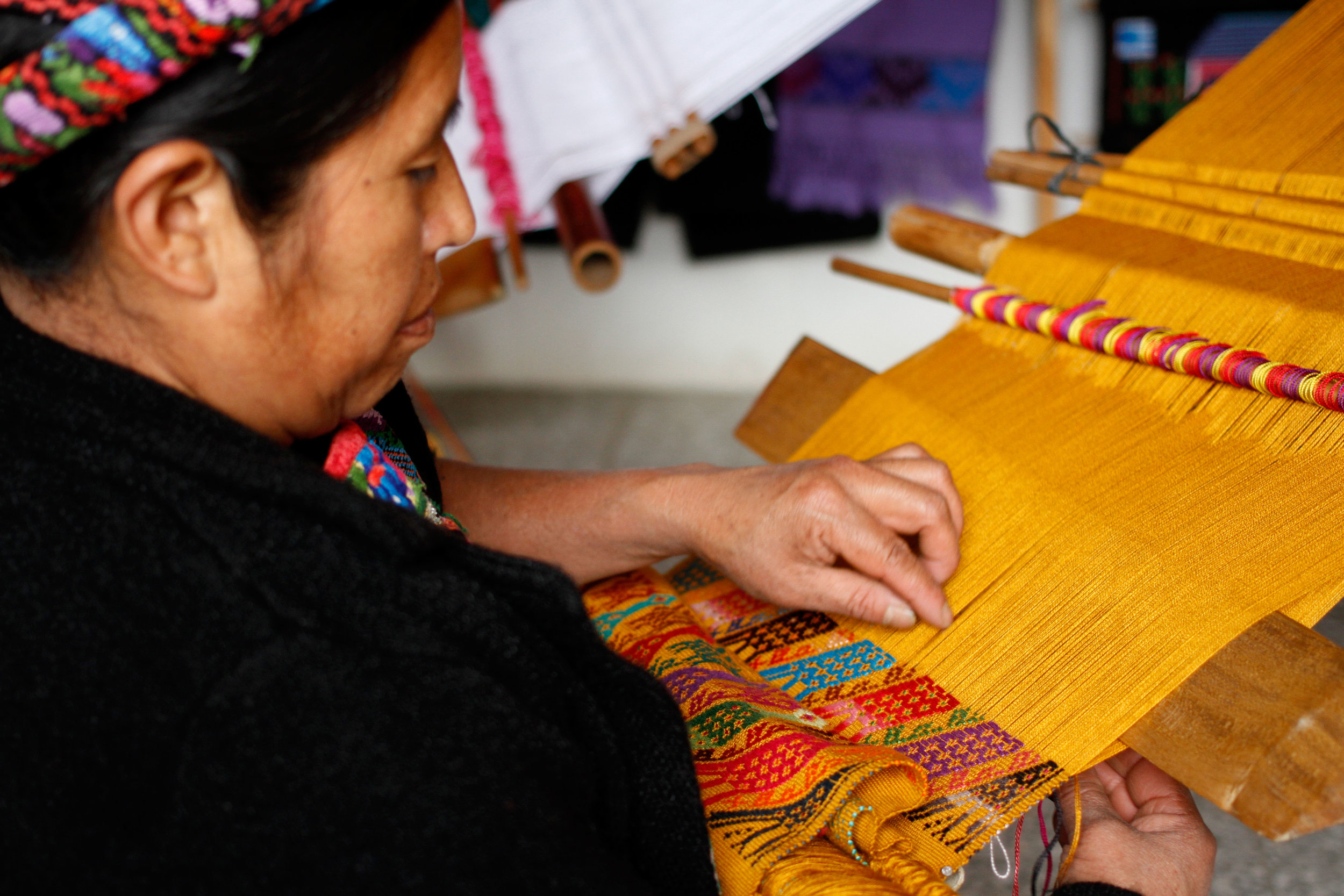 One of the woman weavers at Xela Aid at work.