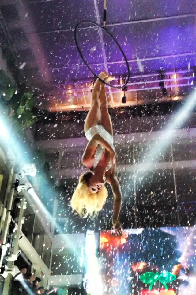 Kristi Wade performs at Pacha Sydney on the Aerial Hoop