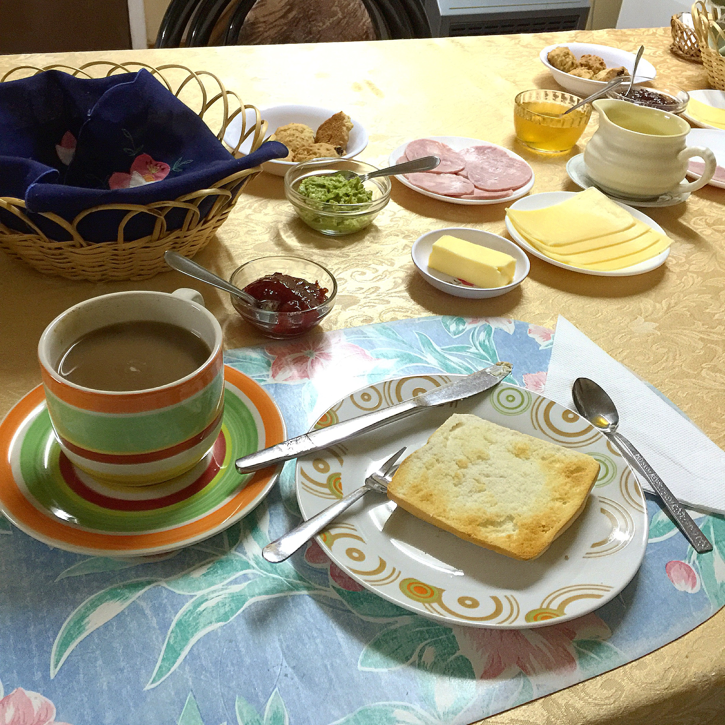 You don't have to choose between sweet or savory breakfast when it's all on the table! Here you see a typical Chilean desayuno to get your long day of fishing started off right!